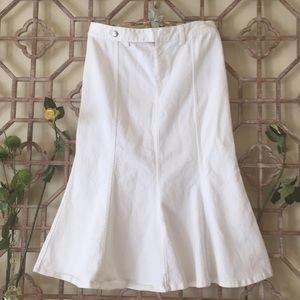 Ralph Lauren White denim fishtail skirt